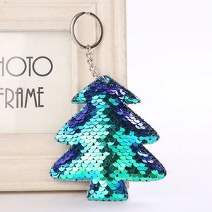Sequin Tree key chain — green
